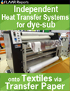 Independent heat transfer systems for textiles via transfer paper