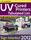 UV-Cured printers tabulated list at Sign Istanbul 2012